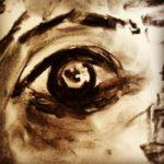 Eye study, charcoal