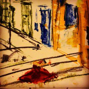 italy, bridge, red dress